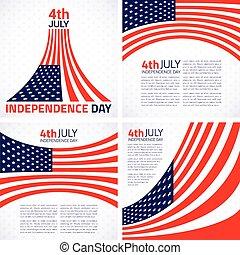 set, americano, elegante, giorno, indipendenza, design.