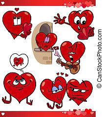 set, amore, cartone animato, illustrazione, valentina