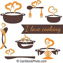 set, amore, cottura, vettore, elementi, cucina