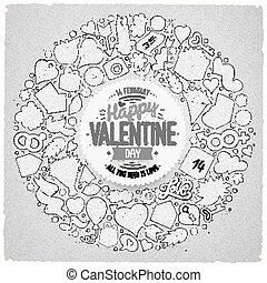 set, amore, oggetti, scarabocchiare, vettore, cartone animato