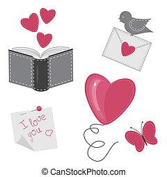 set, amore, romantico, oggetti