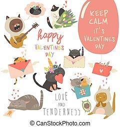 set, amore, tema, vettore, caratteri, gatti, cartone animato