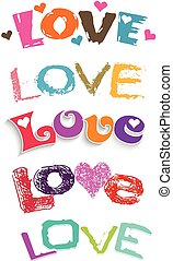 set, amore, words., vettore, disegno, logotipo