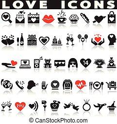 set., amour, icônes