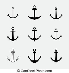 Set anchors icons. Vector.
