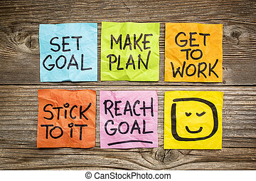 set and reach goal concept - set goal, make plan, work, ...