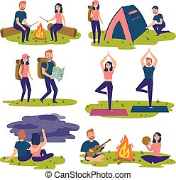 set, andando gita, viaggiatori, yoga, traveling., turisti