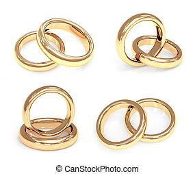 set, anelli, oro, matrimonio