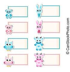 Baby card cute owl baby owl invitation frame for text cute cow owl rabbit bear blue stopboris Choice Image
