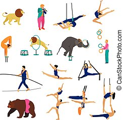 set, animali, elements., circo, icone, isolato, fondo., vettore, artisti, acrobati, disegno, bianco