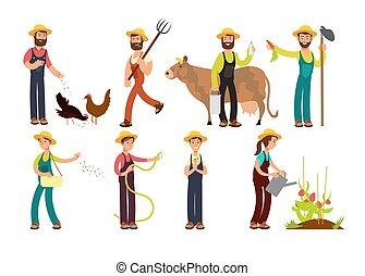 set, animali, fattoria, vettore, caratteri, contadino, giardinieri, attrezzi, cartone animato
