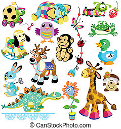 set, animali, giocattoli