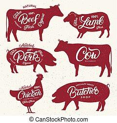 set, animali, logos, fattoria, text., macello, etichette, campione, manifesti, emblemi, templates.