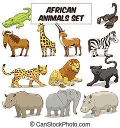 set, animali, savana, vettore, africano, cartone animato
