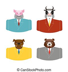 Set Animals businessmen. Farm animals in costume. Pig in business suit. Bull businessman. Bear in Office attire. Dog with tie.