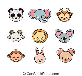set animals cute tender isolated
