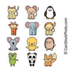 set animals cute tender isolated icon