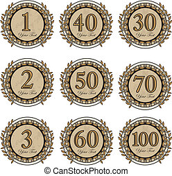 set anniversary and winner signs - set vector anniversary...