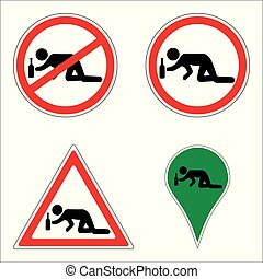 set anti alcohol signs, drunk man reaching to bottle, vector concept alcoholism, alcohol addiction icons