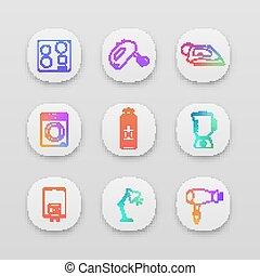 set, app, iconen, huisgezin, apparaat