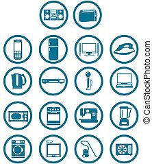 set, apparato, relativo, casa, elettronico, icona