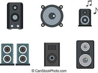 set, appartamento, stile, altoparlante, icona