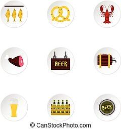 set, appartamento, stile, pub, icone