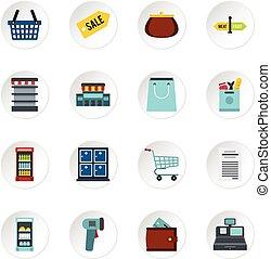 set, appartamento, stile, supermercato, icone