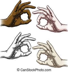 set, approvazione, dita