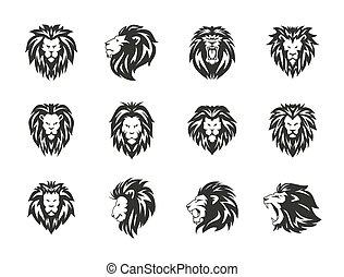 set, araldico, simboli, fondo., leone, nero, bianco