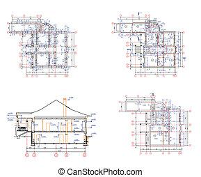 Set architecture background: house plan
