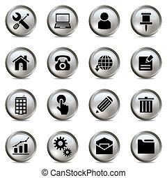 set, argento, icone