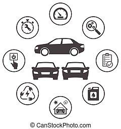 set, arrotondato, icone, semplice, relativo, vettore, automobile., disegno, icona