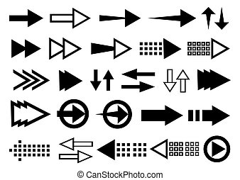 Set arrow icon. Collection different arrows sign. Black vector arrows