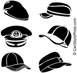set, arte, berretto, isolato, vettore, nero, bianco