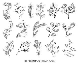 set, arte, elementi, style., design., coloritura, foresta tropicale, fogliame, progettista, felce, illustrazione, acquarello, collezione, erbe, fiori, eucalipto, naturale, foglie, rosa, vettore, fogliame verde