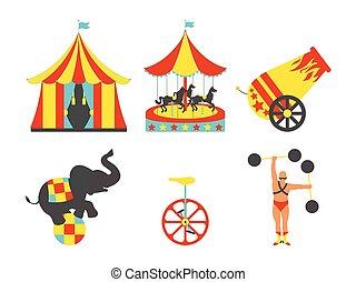 set, arte, illustration., clip, vendemmia, set., circo, vettore, icon.