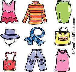 set, arte, scarabocchiare, vettore, vestiti, donne