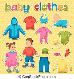 set, articoli, clothes., abbigliamento bimbo, bambini, neonati