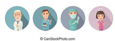 set, arts, karakter, mannelijke , vrouwlijk, pictogram