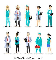 set, arts, medisch, characters., team, professioneel