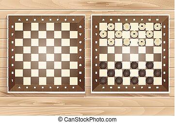 set, assi, legno, vettore, scacchi, fondo