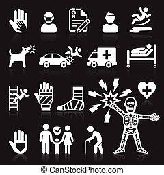 set., assicurazione, icone