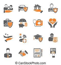 set, assicurazione, icone