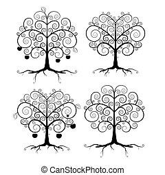 set, astratto, albero, illustrazione, vettore, nero