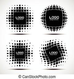 set, astratto, halftone, elementi, disegno, logotipo