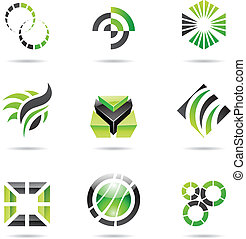 set, astratto, icone, verde, 9, vario