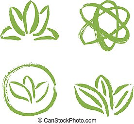 set, astratto, leaves., illustrazione, vettore, disegno, sagoma, logotipo
