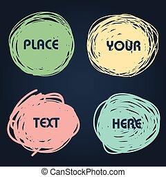 set, astratto, parlare, hand-drawn, discorso, bolle