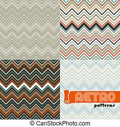 set, astratto, patterns., seamless, quattro, retro